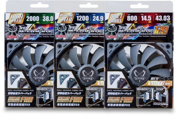 The Scythe Kaze Flex fans are available in three different fan speeds, 800, 1200 and 2000 RPM